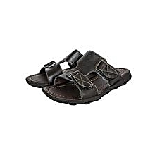 Black Open Leather Sandals With Velcro Straps