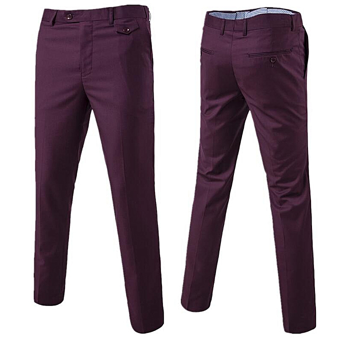 Mens Chinos Slim Fit Pants Straight Casual Expandable Waist Red