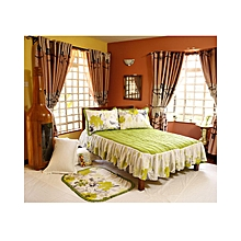 4Pc - Quilted Bedcover Set - 4 x 6 - Green & White