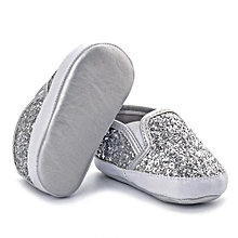 bluerdream-Newborn Girls Boys Crib Shoes Soft Sole Anti-slip Baby Sneakers Sequins Shoes- Silver