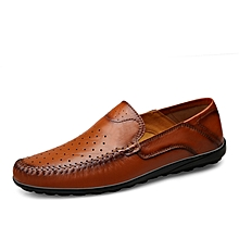 Mens Dress Formal Genuine Leather Hollow Shoes Red Brown