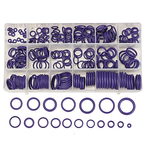 225Pcs Seal O-ring R134a R22 Air Conditioning O-Ring Rubber Washer  Assortment PL