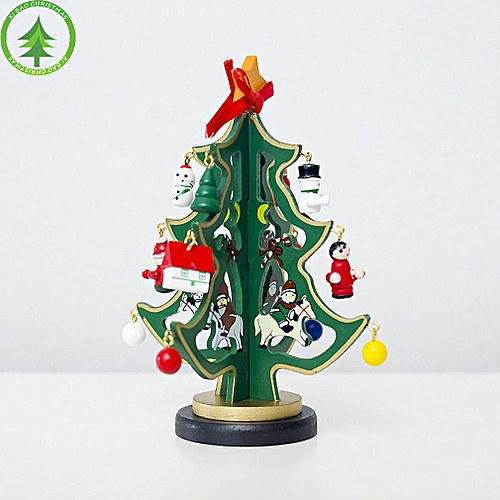 Allwin Christmas Tree Desktop Decorations Painted Wooden Ornaments