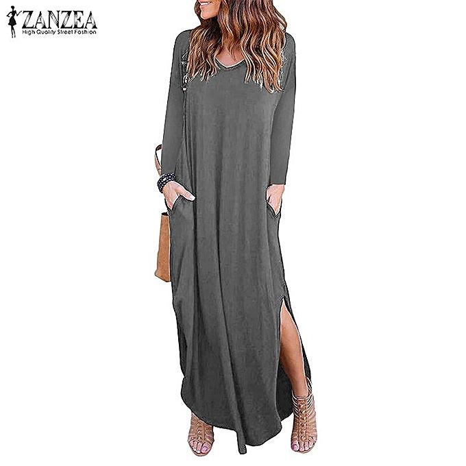 ZANZEA Women Low Cut V Neck Long Maxi Dress Asymmetrical Casual Party Shirt  Dress Plus f7a1ceeed