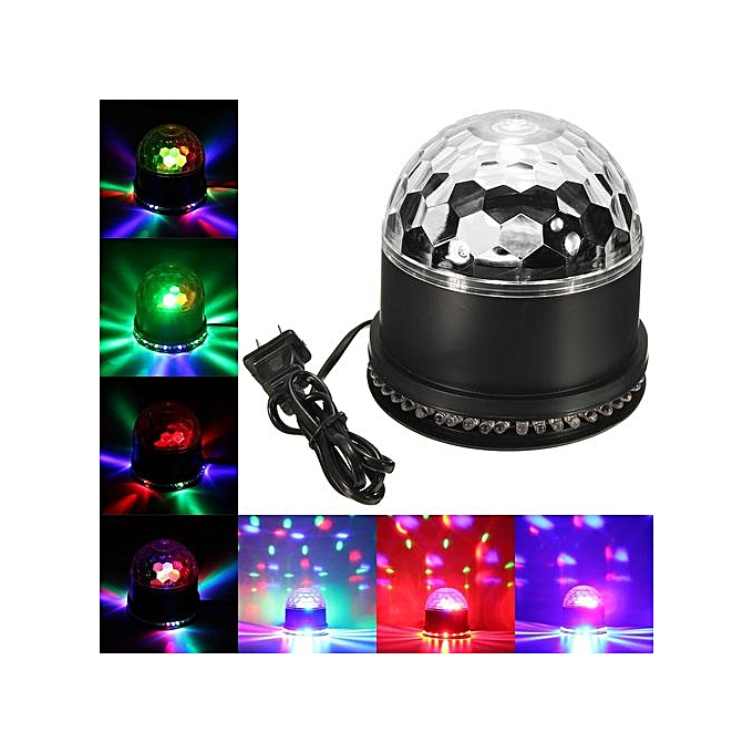 SOLMORE Voice Control 12W RGB LED Disco Party Crystal Ball Stage Effect  Light US Plug