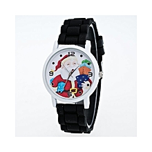 Christmas Gifts Children Color Fashion Wrist Watch  Silicone Strap Wrist Watch  -Black
