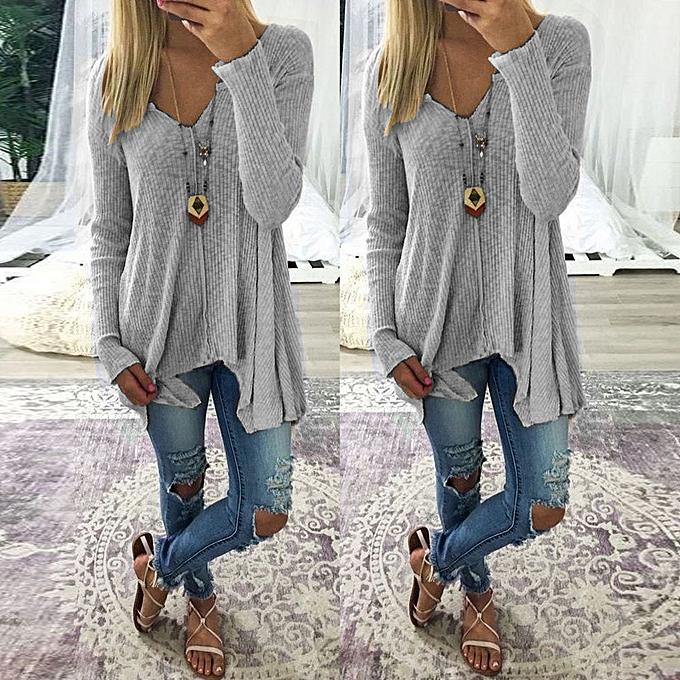8061f35230 Hiaojbk Store Women Batwing Sweater Jumper Tops Oversize T-shirt Pullover  Sweatshirt Blouse-Gray