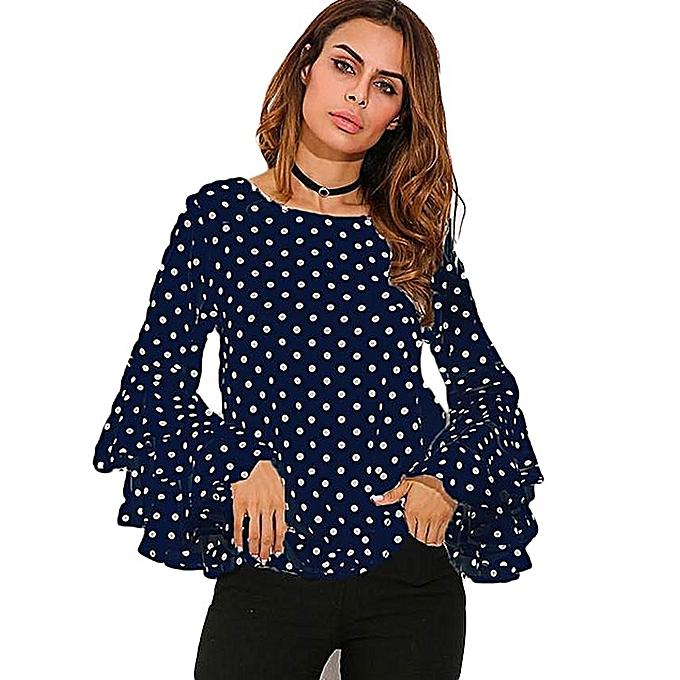 d3d7d8de1c6b49 ZANZEA ZANZEA Womens Flouncing Ruffled Long Sleeves Summer Autumn Polka Dot Butterfly  Sleeve Loose Casual Tops Blouse Plus Size Blue