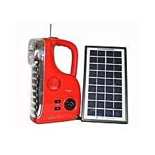 Rechargeable LED Radio Light [w] Solar Panel - Red