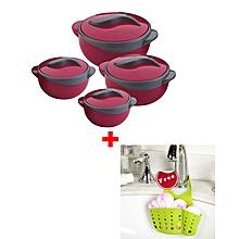Set of 4 Pinnacle Parisa Hot Pot Serving Bowls + FREE Sink Organiser - Solid Red