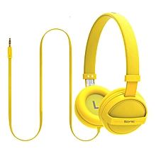 SONIC-Yellow Kid Friendly On-Ear Stereo Wired Headset for Mobile, PC and Laptop