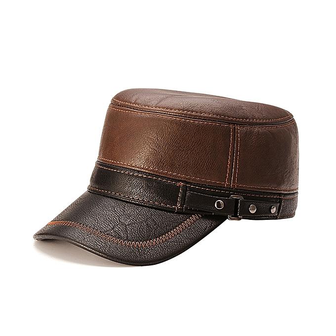 8d06422d11f34 Unisex PU Leather Earflap Ear Muffs Baseball Cap Polar Fleece Linen  Adjustable Golf Hat