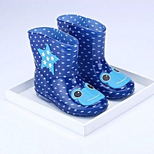 Waterproof Child Animal Rubber Infant Baby Rain Boots Kids Children Rain Shoes- Dark Blue