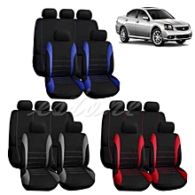 New Car Seat Covers Red Set For Auto W/Steering Wheel/Belt Pad/Head Rests 9 Part (Grey Black)