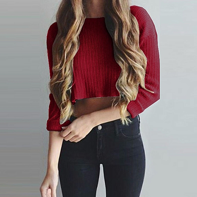 6f30dea91e3fb Hiamok Women Long Sleeve Crop Tops Shirt Sexy Ronud Neck Blouse T-Shirt