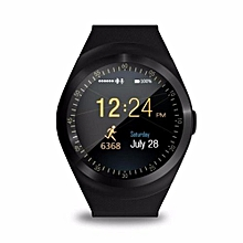 Smart Watchs Y1 Round display support Nano SIM &TF Card With Whatsapp and Facebook Men Women Business Smartwatch For Android-black