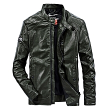 Mens Motorcycle Flaux Leather Fashion Solid Color Biker Jacket
