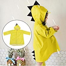 Cute Dinosaur Pattern Kids PVC Raincoat Boy Girl Rainwear Cartoon Rain Coat Yellow L