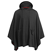 Men Casual Irregular Loose Bat Sleeves Hooded Poncho Cape Coat With Pocket