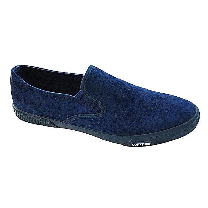 Blue Casual Slip-On Men's Sneakers With Rubber Sole