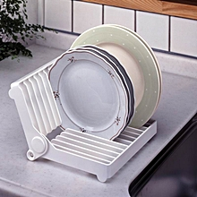 Foldable Dish Drip Rack Plate Holder(White)