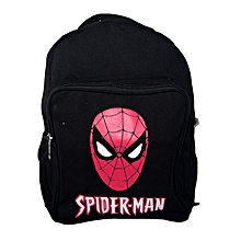 Black Canvas Trendy School Bag With Red Spiderman Pattern