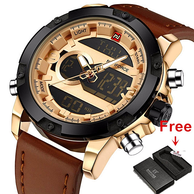 Men Sport Watches NAVIFORCE Brand Dual Display Watch LED Digital Analog  Watch Leather Quartz Watch 30M f0921dbfdd