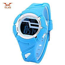 Digital Sports Watch LED Light Date Day Chronograph Display 5ATM Wristwatch-AZURE
