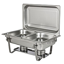 Chafing Dish Stainless Steel Full Size Tray Buffet Catering - Silver
