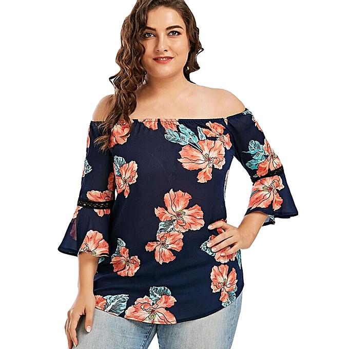 50286ce8fbde2 Xiuxingzi Plus Size Women Floral Print Lace Off Shoulder Flare Sleeve T-Shirt  Tops Blouse