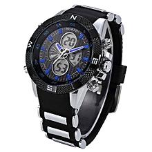 Olivaren North Calendar Quartz Wrist Watch Silicone Strap Bracelet Men WatchBlue