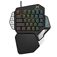 Delux T9X Wired Gaming Keypad 33 Keys One-handed Membrane Keyboard - BLACK