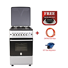 Free Standing Cooker, 4Gas Burners, Gas Oven MST55PIAGSL/SD - With Free Oven Tray, 2M German Technology Gas Pipe and IGT Snap On Compact Low Pressure Regulator - Silver and Black