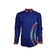 African Print Men's Shirt-Blue