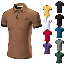 Hot Sale Men's Summer Cotton Breathable Top Short Sleeve Polo Shirts-Coffee
