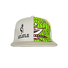 Light Grey And Green Snapback Hat With Kelele Color On Panel