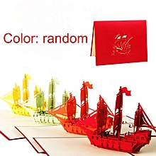 3D Ship Cards Laser Cut Post Card Pop Up Greeting For Happy Birthday Red, Orange, Yellow, Green