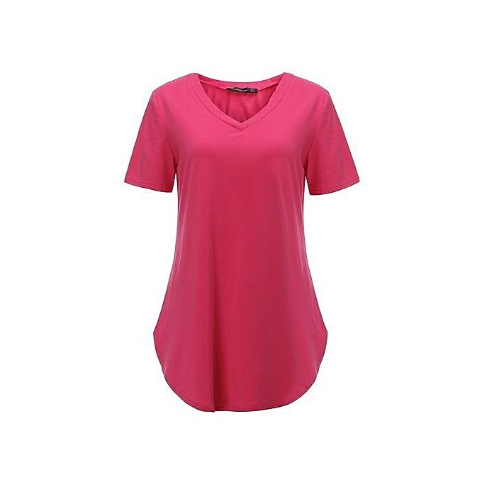 05b4755256fc Plus Size Womens Summer Short Sleeve V-Neck Basic T-Shirt Irregular Shirt  Casual ...