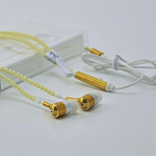 Glow In-Ear Luminous Light Metal Zipper Earphone Glow In The Dark Headset For Iphone Samsung Gold