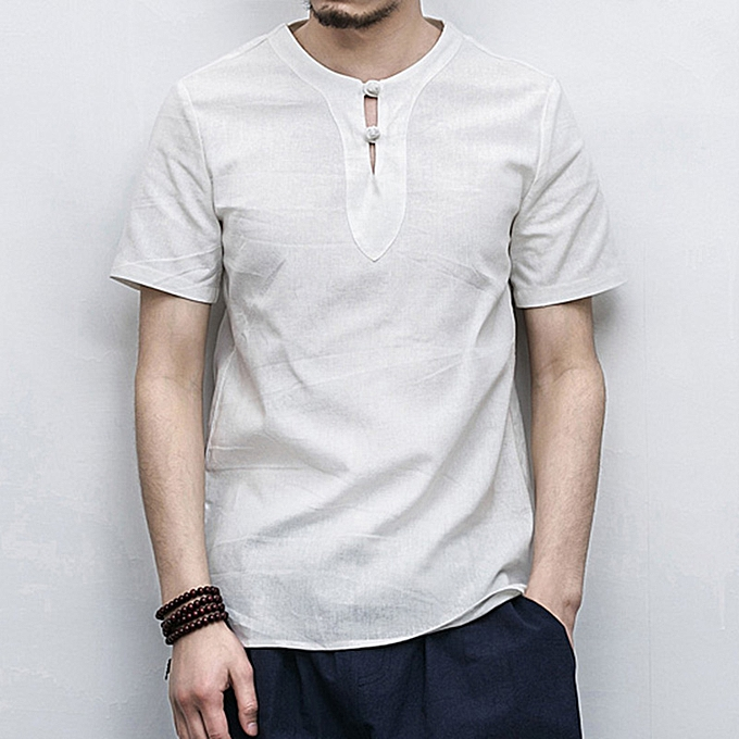 46e6ae9b Chinese Style Men's Cotton Linen Breathable T-Shirts Fashion Casual Buckle  Collar Short-sleeved Tops