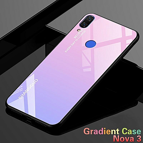 info for ffe3d 18efd Gradient Glass For Huawei Nova 3 Case Tempered Glass Case Full Coverage  Cases For Huawei Nova 3 Casing 162547 (Pink)