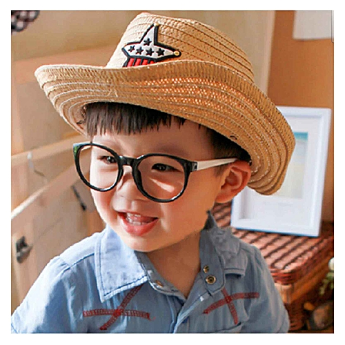 ad084b9c232549 Generic Baby sunshade hat straw hat fashion eaves hat for boys and girls