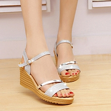 Blicool Shoes Women Round Toe Non-slip Platform High Heels Sandals Buckle Sequins Sandals#Silver