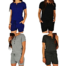 Womens Short Sleeve Button Down Jumpsuit Shorts Casual Soild Color Pocket Track Suit Black