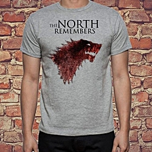 Youth Game Of Thrones Direwolf Wolf The North Remembers Stark Logo Simple Graphic Design Shirt Summer Fashion Casual Men Cotton T Shirts Grey Trend