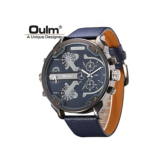 8602b5c1f32 Famous Designer Mens Watches Top Brand Luxury Quartz-Watch Oulm Leather  Strap Big Face Military