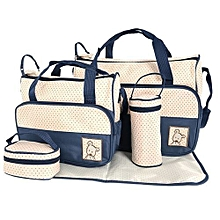 5 piece Diaper Bag, Multi Pockets Waterproof Nappy Bag For Travel - Blue