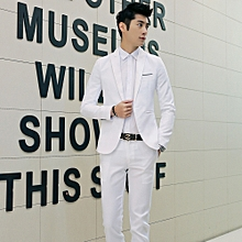 Sanwood Men Slim Fit Business Leisure One Button Formal Two-Piece Suit For Groom Wedding -White