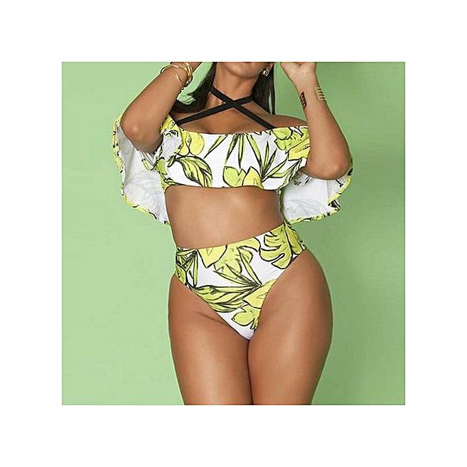 b75cec6050da2 Xingbiaocao Plus Size Women Swimwear Bandage Bikini Set Push-up Padded Bra  Bathing Swimsuit -