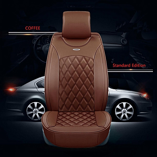 Universal PU Leather Car Seat Cover 5Seats Full Front Rear Cushion W Pillow
